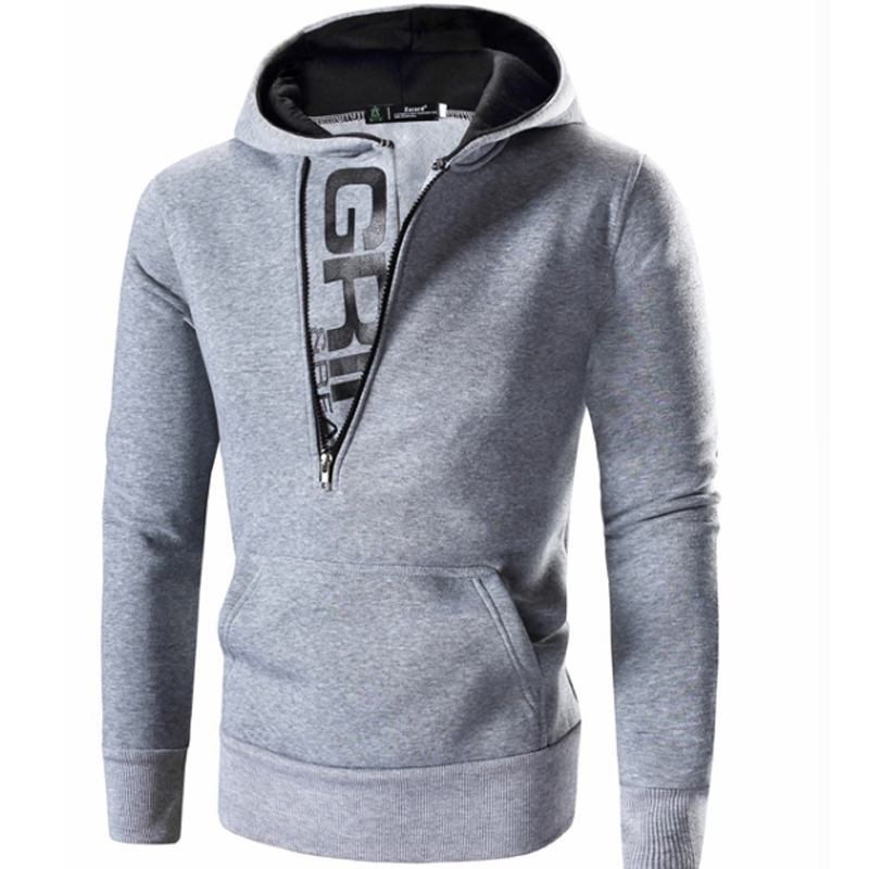 Hooded Oblique Zipper Loose Grey Sweatshirt | Fashion, Gray