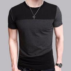 Brand 2017 Male Short Sleeve T Shirt O-Neck Men T-Shirt Hip-Hop Simple splicing Tee Tops Shirt Homme T Shirts 3XL DUNV