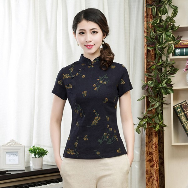 Brand New Lady's Cotton Linen Floral Shirt Fashion Chinese Tradition Women's Blouses Shirts Tops S M  L XL XXL 3XL 080707