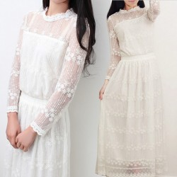 Bridesmaid lace dress for women bohemian sweet stand collar wedding lace embroidery cutout lace dresses 2017 gown vestidos