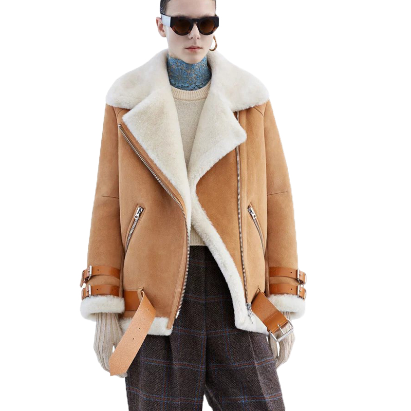 ea4a00be4d313 Buenos Ninos autumn belt artificial suede   leather fake lambswool short  jacket hairly collar black camel hot sale coat 50