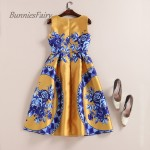 BunniesFairy 2017 Spring Summer New Trendy Ladies Retro Vintage Token Floral Print High Waist A-Line Sleeveless Midi Dress