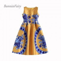BunniesFairy 2017 Spring Summer New Trendy Ladies Retro Vintage Token Floral Print High Waist A-Line Sleeveless Midi Dress