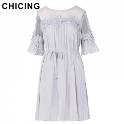 CHICING Women Chiffon Pleated Elegant Lace Splicing Mini Dress 2017 New Flare Sleeves Chic Beach Ladies Vestidos mujer A1611073