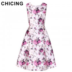 CHICING Women Floral Printed Purple Dress 2017 Spring Summer Sleeveless Fit Flared Pleated Vintage Midi Dress Vestidos A1612010
