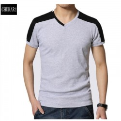 CHUKAR BIRD Summer Short-Sleeve T-Shirts men's big size tee shirts Slim V-Neck patchwork Casual cotton t-shirt homme 5XL