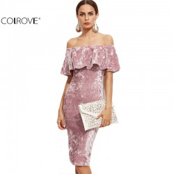 COLROVE Womens Sexy Dresses Party Night Club Dress Winter Dresses Off Shoulder Bodycon Pink Ruffle Sheath Elegant Dress