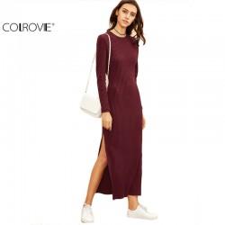 COLROVIE 2016 Winter Dresses for Women European Style Women Fall Dresses Burgundy Long Sleeve High Slit Ribbed Dress