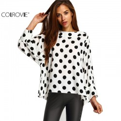 COLROVIE 2017 Spring Wear Women Hot Sale Vintage Tops Latest Cute Black Polka Dots Long Batwing Sleeve Round Neck White Blouse