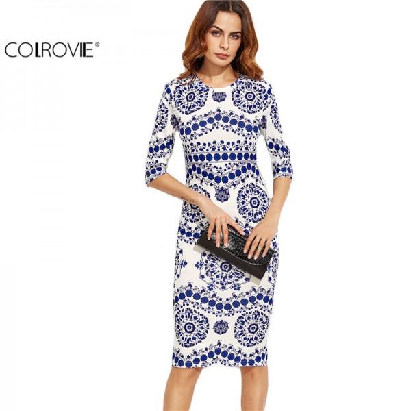 COLROVIE Blue And White Porcelain Print Slim Pencil Dress Office Ladies Work Wear Round Neck 3/4 Sleeve Midi Dress
