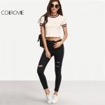COLROVIE Brief Striped T-shirt Women Beige Short Sleeve Casual Sexy Crop Top Crew Neck Summer Tops 2017 Fashion Cotton T-shirt