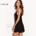 COLROVIE Fashion Dresses for Women Loose Fashions Beach Mini Dresses Black Backless Slip Sleeveless A Line Dress