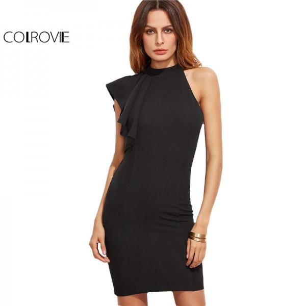 COLROVIE One Shoulder Dress Women Black Elegant Flutter Sleeve Brief Bodycon Summer Dresses 2017 New Slim Casual Office Dress