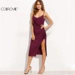 COLROVIE Purple Women Spaghetti Strap Bodycon Dresses Split Side Midi Slim Sexy Sleeveless Deep V Neck Backless Sheath Dress