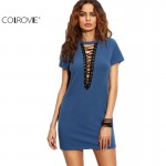 COLROVIE Royal Blue Lace Up Front Short Sleeve Sheath Sexy Style Short Dress Ladies O Neck Bodycon Mini Dress