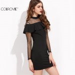 COLROVIE Sexy Club Dresses New Arrival Sheath Mini Dress Black Dotted Mesh Shoulder And Sleeve Ruffle Bodycon Dress