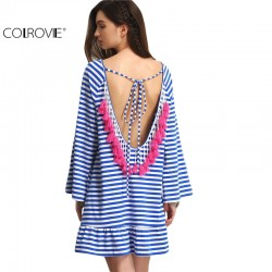 COLROVIE Sexy Striped Backless Tassel Straight Summer Style Dresses 2017 New Beach Women Long Sleeve White Shift Dress