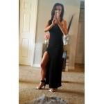 COLROVIE Women Black Racer Back Split Side Sleeveless Long Dress Summer Beach Wear Slim Round Neck Sheath Dress