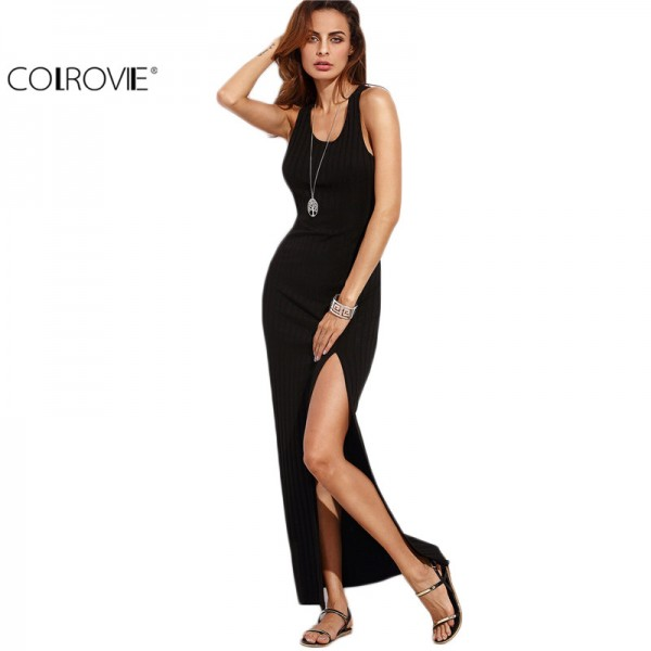 COLROVIE Women Black Racer Back Split Side Sleeveless Long Dress Summer Beach Wear Slim Round Neck Sheath Dress