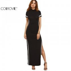 COLROVIE Women Sexy Wear Autumn Style Bodycon Dresses Black Cut Out Striped Trim Short Sleeve High Neck Split Sheath Maxi Dress