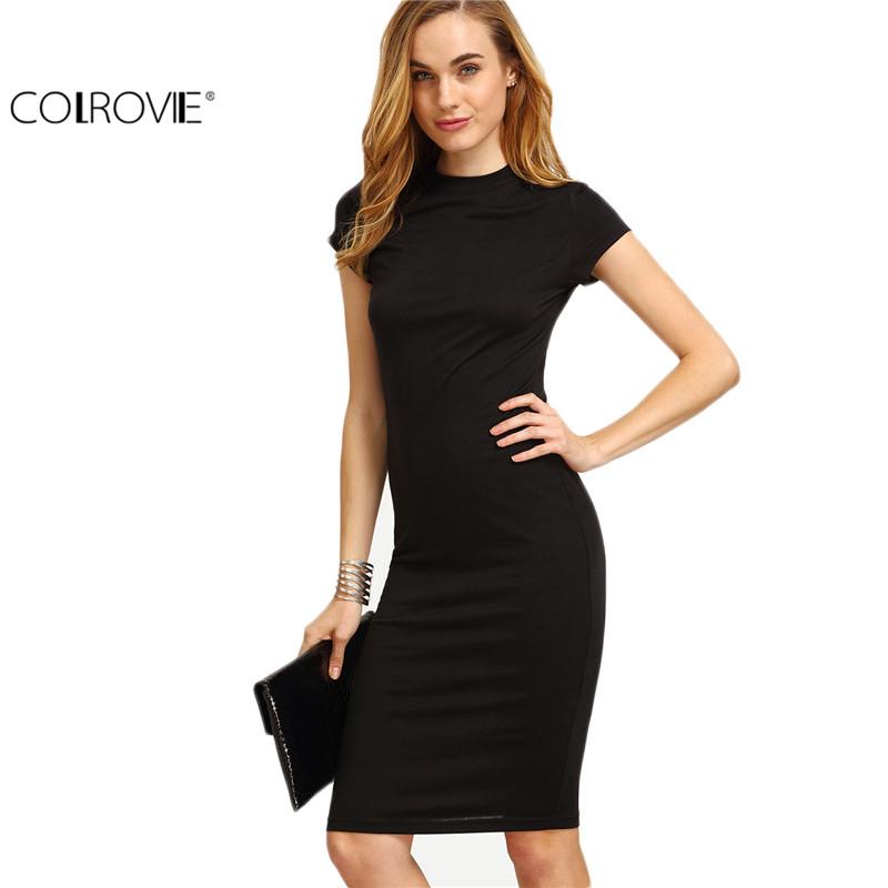 26632d985666 COLROVIE Women's Work Wear Sheath Dresses Sexy Newest Solid Black Cap  Sleeve Crew Neck Knee Length Bodycon Dress