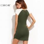 COLROVIE Womens Dresses New Arrival 2017 Mini Dress Color Block Slit Side Round Neck Short Sleeve Patchwork Tee Dress