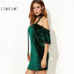 COLROVIE Womens Sexy Dresses Party Night Club  Dark Green Off The Shoulder Ruffle Sleeve Velvet Dress With Neck Tie Mini Dress