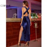 COLROVIE Womens Sexy Dresses Party Night Club Dress Elegant Dress Sexy Blue High Slit Velvet Convertible Backless Dress