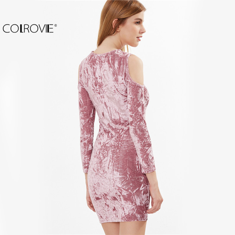 a0af474e8415 COLROVIE Womens Sexy Dresses Party Night Club Dress Sexy Dress Club Wear  Pink Cold Shoulder Crushed ...