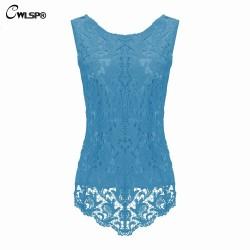 CWLSP 2017 Spring Summer Women Plus Size Chiffon Blouse Shirts Fashion Lace Crochet Sleeveless Tank Tops Women Camis blusas