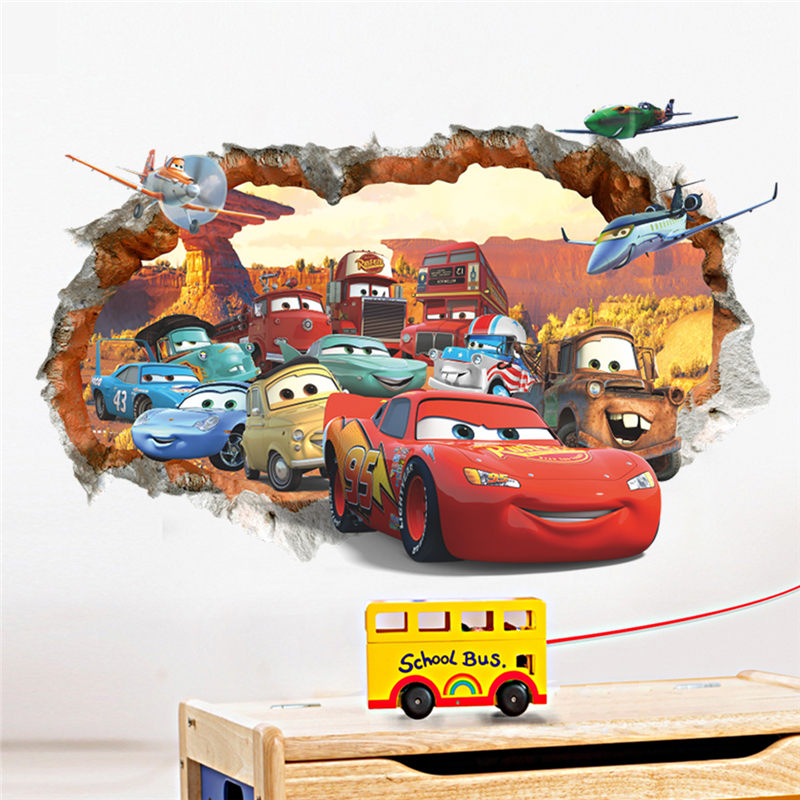Cartoon cars child room wall stickers for kids room boy ...