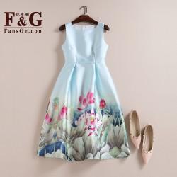 Casual Print Dress New 2017 Fashion Fresh Lotus Printing Sleeveless Vest A-line Dress Vestidos Vintage Woman tutu Midi Dresses