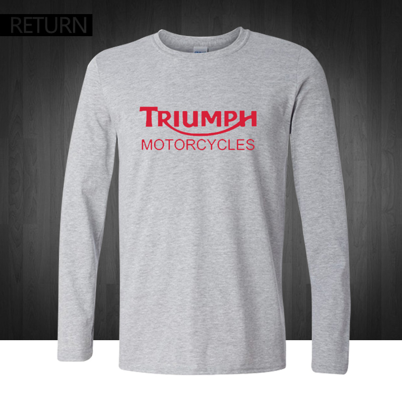 Classic triumph motorcycles t shirt men 100 cotton for Good quality long sleeve t shirts