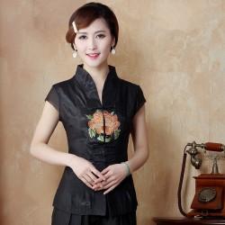 Classy Black National Chinese Embroidery Women Shirt  Vintage Satin Blouse  Summer Flower Costume Size S M L XL XXL XXXL WS029