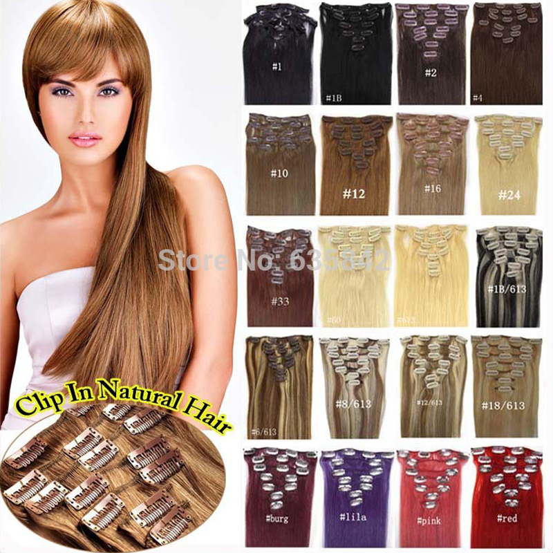 Clip In Hair Extensions 20 50cm 70g 100g 120g Straight Real Human