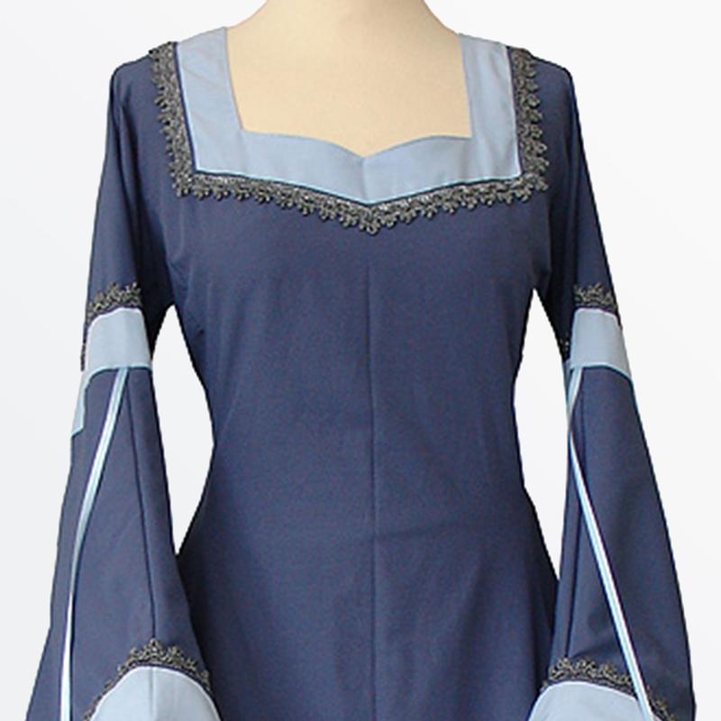 Clocolor medieval dress light blue vintage style gothic dress floor ...