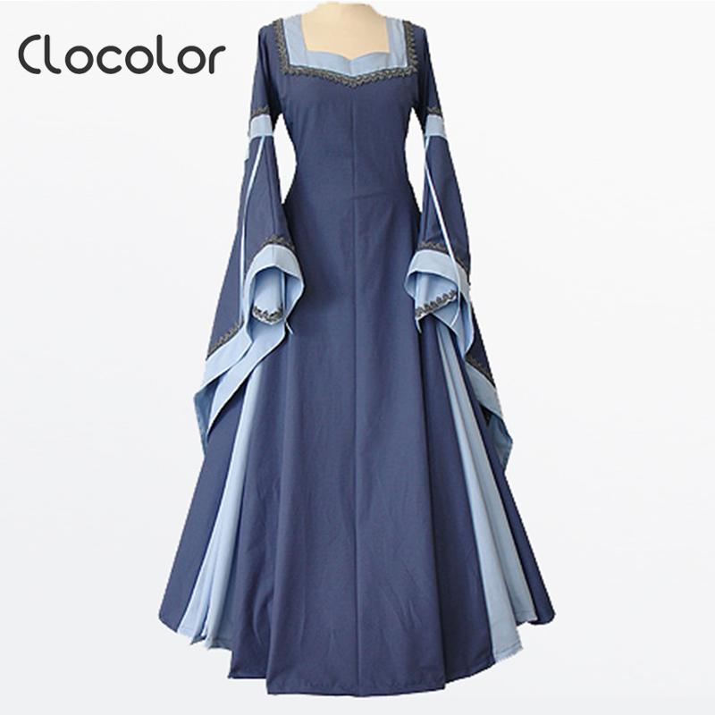 clocolor medieval dress light blue vintage style gothic