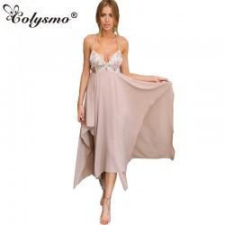 Colysmo Deep V Neck Asymmetrical Women's Sequin Maxi High Low Dress New Long Bohemian Party Beach Long Dress Sundress Club Wear
