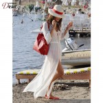 Comeondear White See-through Beach Anklet Length  Sexy Beach Dress Shirt Style New Arrival B246 High Quality Bathing Suit Dress