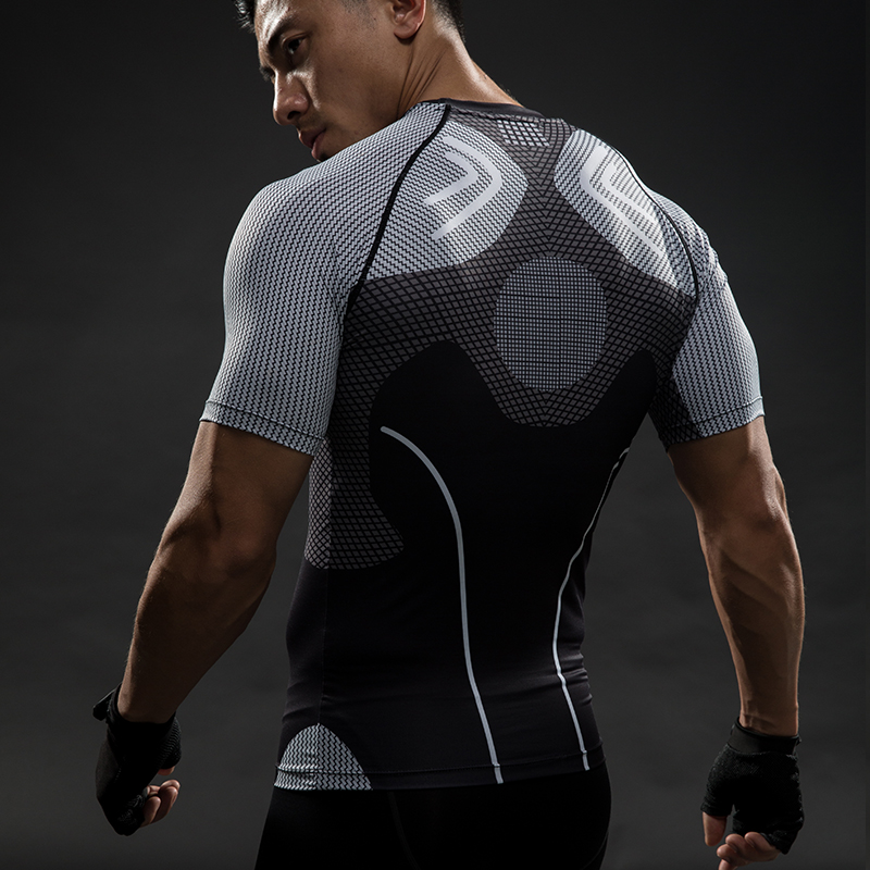 Compression shirt raglan sleeve 3d printed t shirts men for Gym printed t shirts