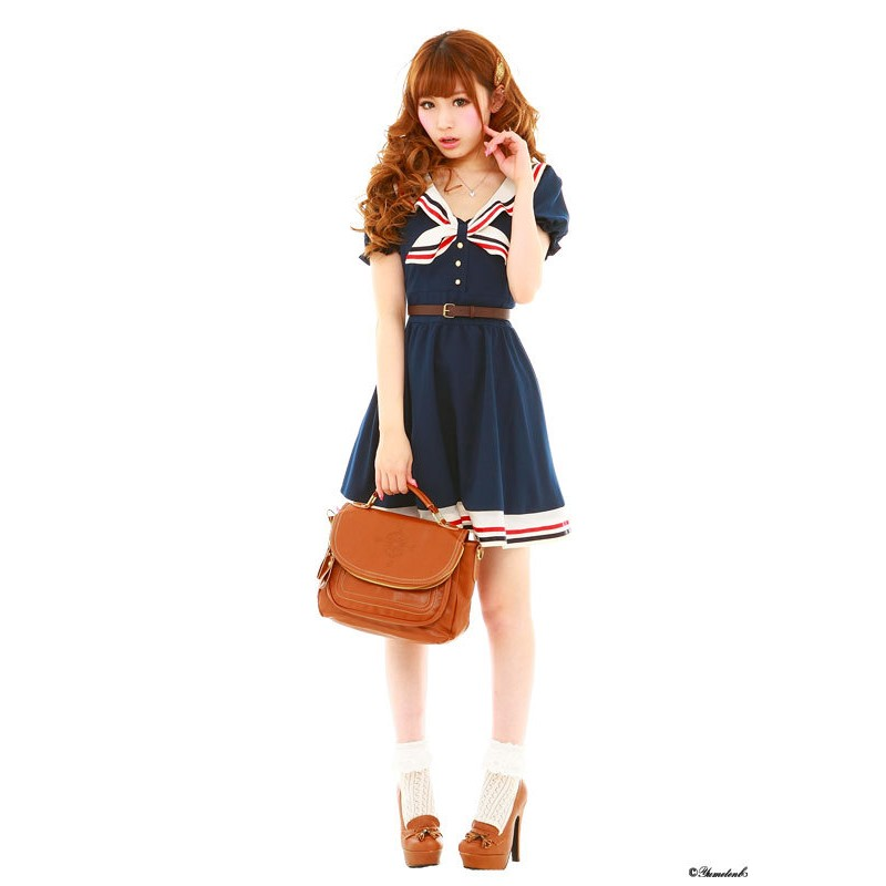 Cosplay Costume Japanese School Uniform Navy Sailor Dress Stripe Bow ...
