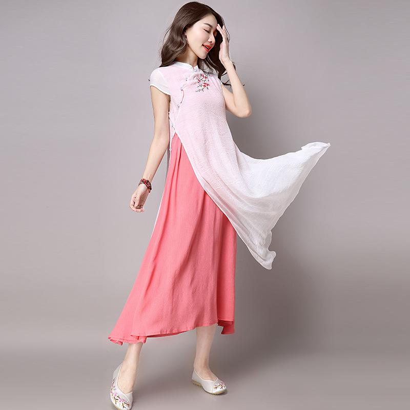 Maxi Dress Summer 2017 Embroidery Linen Dresses Long Robes Women ...