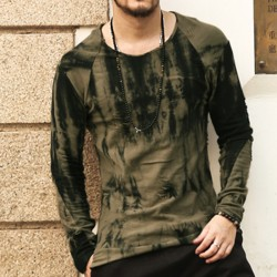 Cotton long sleeve t shirt men 2016 new Dark green tie-dye Stylish Frazzle TeeTops Slim Fit O-neck T-shirt Casual brand clothing