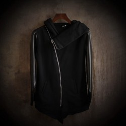 Cultivate Morality Fashion Men Hoodies Leather Sleeve Splicing Inclined Zipper Hooded Big Yards Fleece Jackets