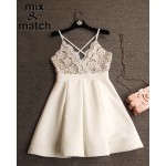 Cute Sexy Dress Vestido branco V-neck Backless Cross Straps Lace Patchwork Ball gown Dress White Pleated Mini Dress DR03378C