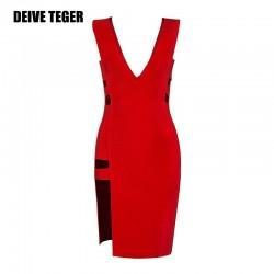 DEIVE TEGER club dresses sexy woman cut out  New Arrival v-neck noble Bandage Vestidos Women Knee-Length Dress HL2229