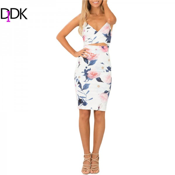 DIDK Summer Style 2016 Fashion Women Dresses Sexy Club Sleeveless Spaghetti Strap Cut Out High Street Sheath Knee Length Dress