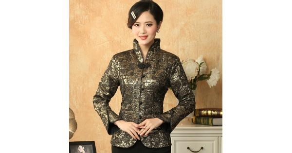 1c1dd4deb3e2 Dark Green Autumn Winter New Women Jacket Chinese Style Satin Coat Flower Tang  Suit Top Female Overcoat S M L XL XXL XXXL M-21
