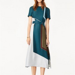 Designer Runway Dress High Quality 2017 Spring Summer Women Short Sleeve O-Neck Block Color Side Split Belt Dress SAD360