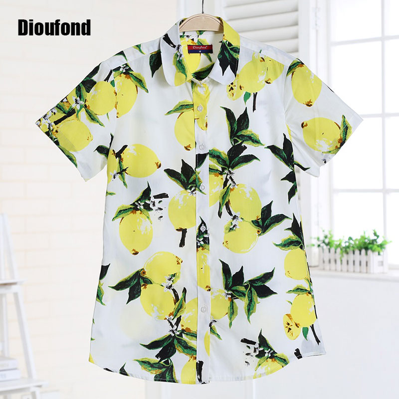 43f68e6e859 Dioufond Short Sleeve Blouse Summer Floral Vintage Shirts Cherry Shirt  Women Turn-down Collar Blouses New Blusas Plus Size 2016